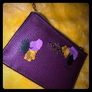Mini Skinny Id Case (deep purple) W/Floral Print